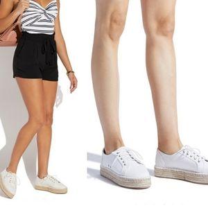 White Aubrey Fabric Espadrille Platform Sneakers